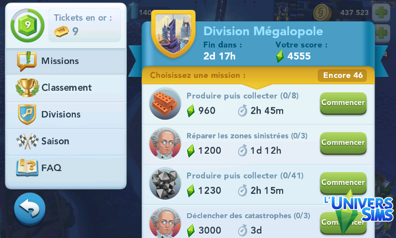 Liste missions exemple