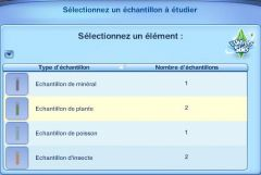 Sims 3 University Competence Science Recherche echantillon menu