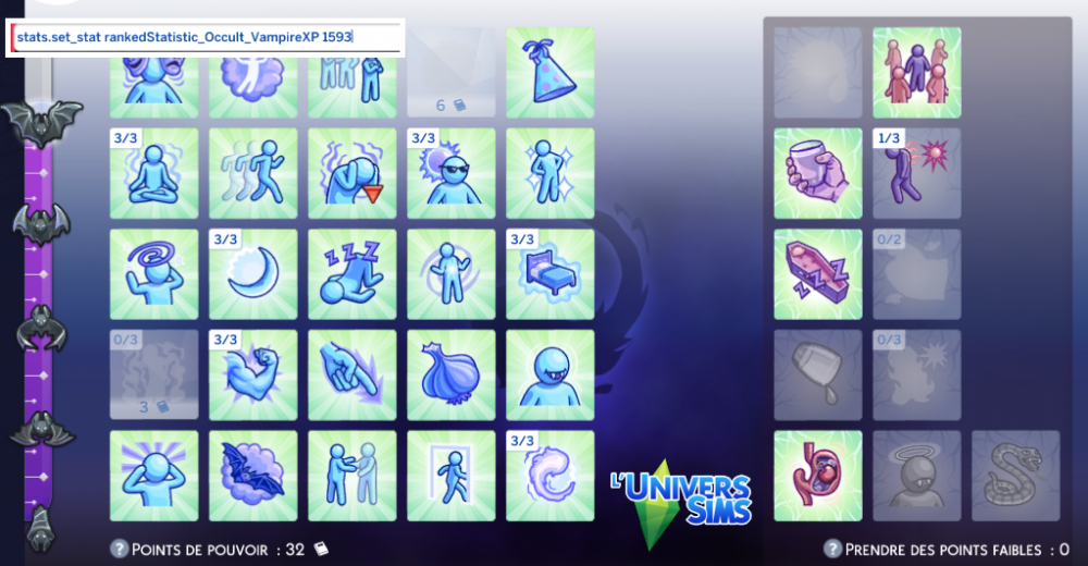 Les Sims 4 Pack Vampires : codes de triche / cheats codes