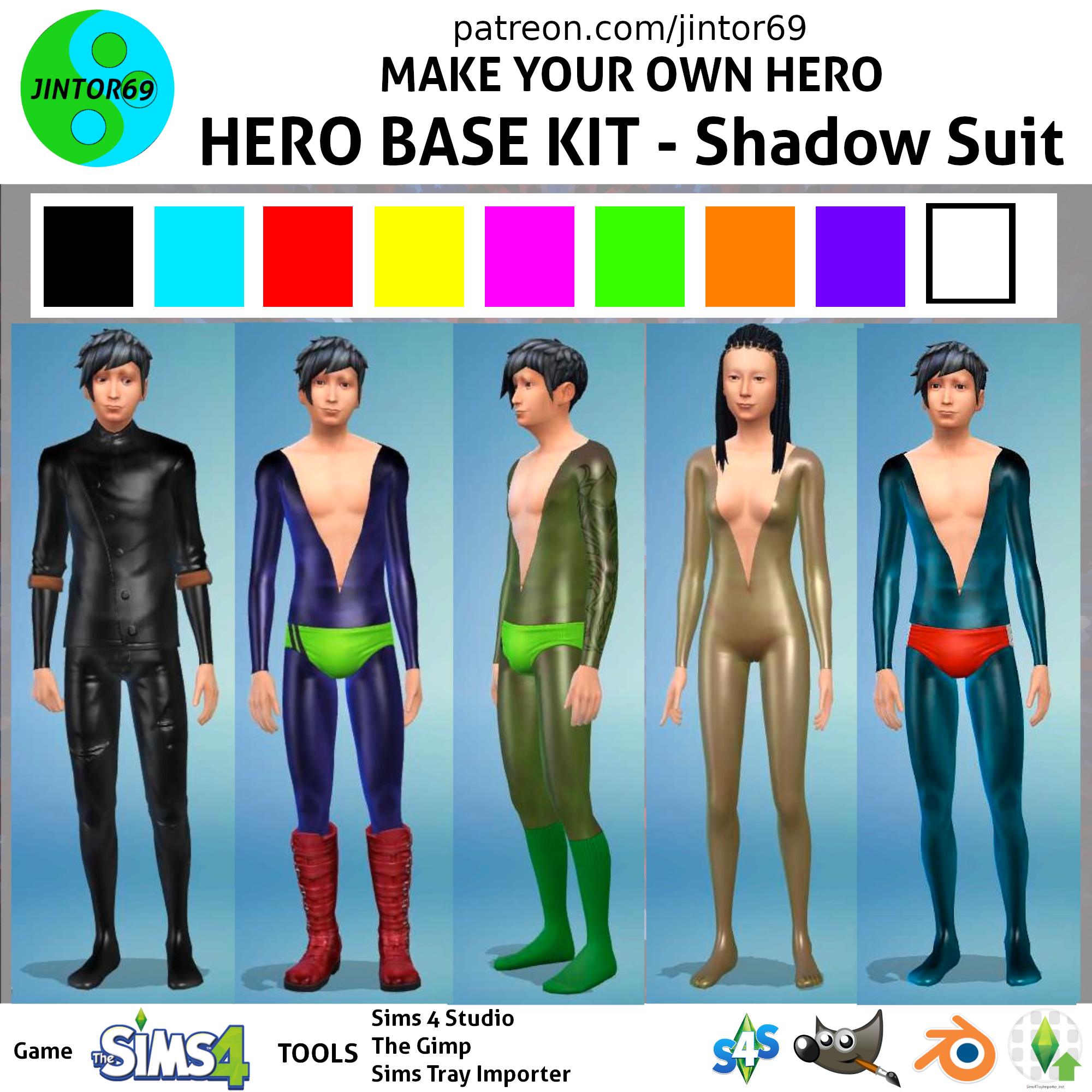 Jintor69 Hero Base Kit Costumes Tights zipped and unzipped